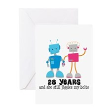 28 Year Anniversary Robot Couple Greeting Card