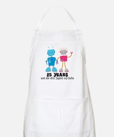 25 Year Anniversary Robot Couple Apron