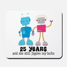 25 Year Anniversary Robot Couple Mousepad