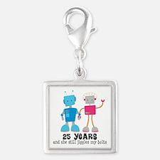 25 Year Anniversary Robot Couple Silver Square Cha
