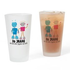 20 Year Anniversary Robot Couple Drinking Glass