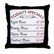 Funny Mare Menu Throw Pillow