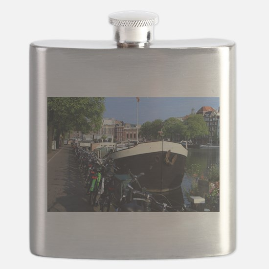 Barge and bicycles, Amsterdam Flask