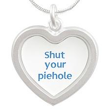 Shut Your Piehole Silver Heart Necklace