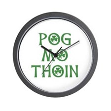 Pog Mo Thoin Shamrock Wall Clock