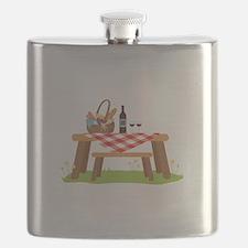 Picnic Table Basket Wine Flask