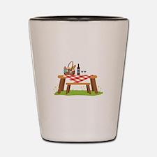 Picnic Table Basket Wine Shot Glass