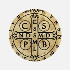 """St. Benedict Medal 3.5"""" Button"""