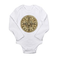 St. Benedict Medal Long Sleeve Infant Bodysuit