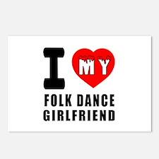 I Love My FolK Dance Girlfriend Postcards (Package