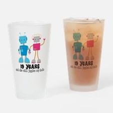 19 Year Anniversary Robot Couple Drinking Glass