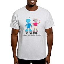 15 Year Anniversary Robot Couple T-Shirt