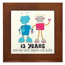 13 Year Anniversary Robot Couple Framed Tile