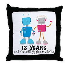 13 Year Anniversary Robot Couple Throw Pillow