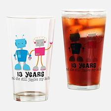 13 Year Anniversary Robot Couple Drinking Glass