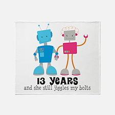 13 Year Anniversary Robot Couple Throw Blanket