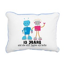 13 Year Anniversary Robot Couple Rectangular Canva