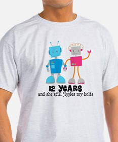12 Year Anniversary Robot Couple T-Shirt