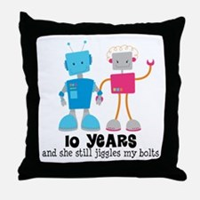 10 Year Anniversary Robot Couple Throw Pillow