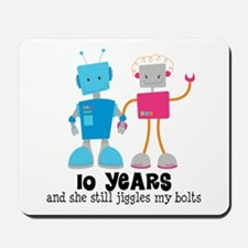 10 Year Anniversary Robot Couple Mousepad