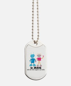 10 Year Anniversary Robot Couple Dog Tags