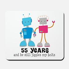 55 Year Anniversary Robot Couple Mousepad