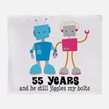 55 Year Anniversary Robot Couple Throw Blanket