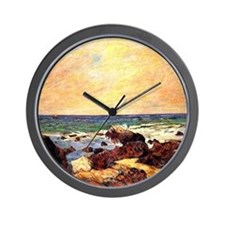 Gauguin - Rocks and Sea. Paul Gauguin p Wall Clock