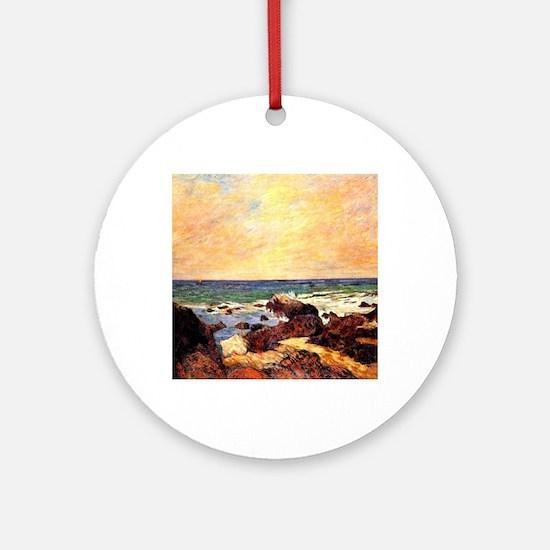 Gauguin - Rocks and Sea. Paul Gaugu Round Ornament
