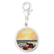 Gauguin - Rocks and Sea. Paul  Silver Round Charm