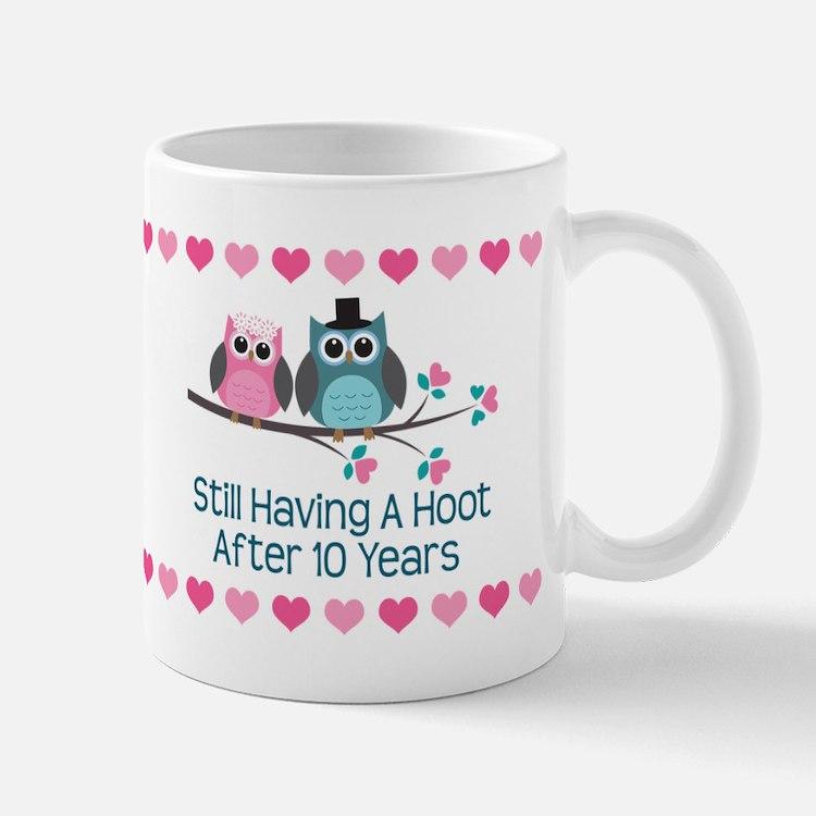 10th Anniversary Owl Gift Mugs