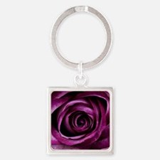 Purple Rose Square Keychain