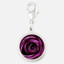 Purple Rose Silver Round Charm