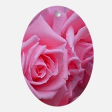 Pink Rose Oval Ornament