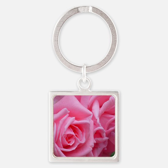 Pink Rose Square Keychain
