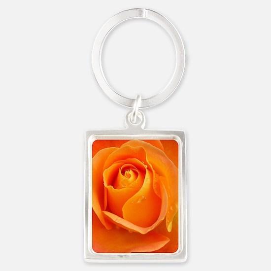 Orange Rose Portrait Keychain
