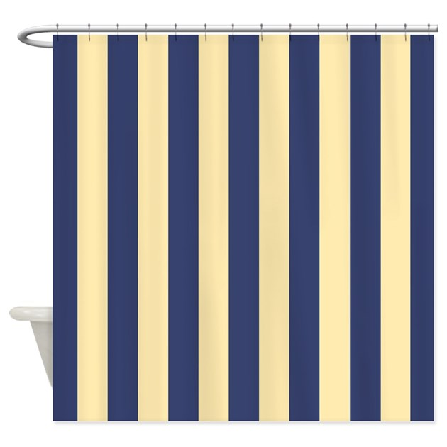 Navy And Yellow Stripes Shower Curtain By ShowerCurtainsWorld