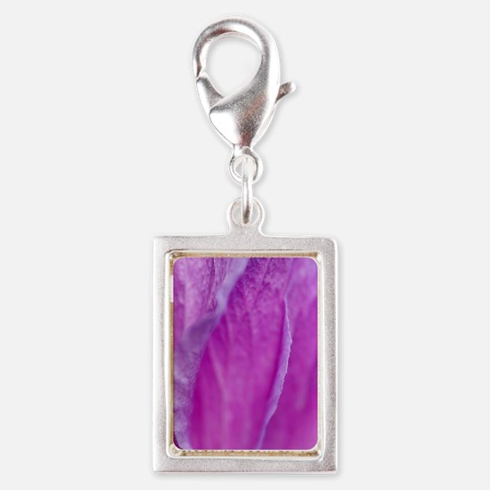 Purple Flower Silver Portrait Charm
