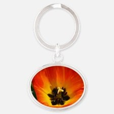 Orange Flower Oval Keychain
