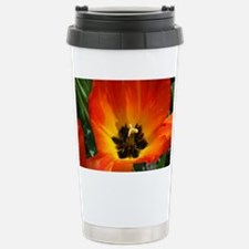 Orange Flower Stainless Steel Travel Mug