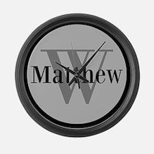 Gray Name and Initial Monogram Large Wall Clock