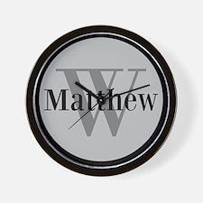Gray Name and Initial Monogram Wall Clock