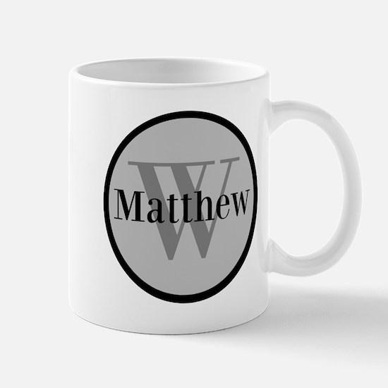 Gray Name and Initial Monogram Mugs