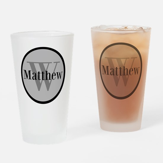 Gray Name and Initial Monogram Drinking Glass