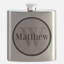 Gray Name and Initial Monogram Flask