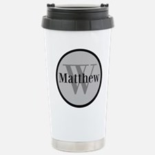 Gray Name and Initial Monogram Travel Mug