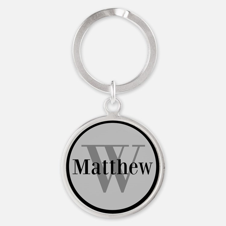Gray Name and Initial Monogram Keychains
