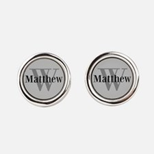 Gray Name and Initial Monogram Cufflinks
