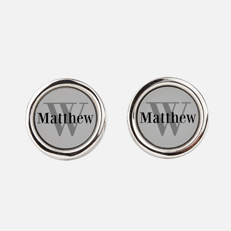 Gray Name and Initial Monogram Cufflinks