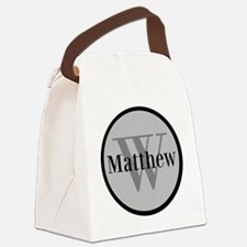 Gray Name and Initial Monogram Canvas Lunch Bag